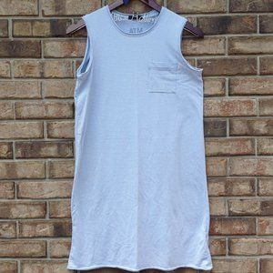 ATM Blue White Sleeveless Stripe Shirt Tank Dress